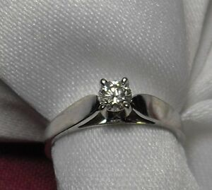 "14kt white gold .25ct ""Solitaire"" Diamond Engagement Ring - Sz 6"