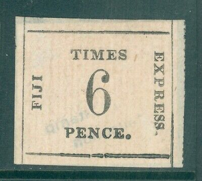 SG 7 Fiji 1870-71. Times express. 6d black on rose. A fresh mint example...