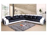 BLACK AND WHITE BONDED LEATHER CORNER SUITE