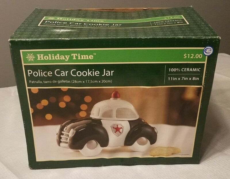Holiday Time Cop Squad Car Police Car Black White Cookie Jar New in Damaged Box