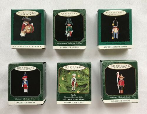 6 Clothespin Soldiers ~ Hallmark Miniature Ornaments ~ Complete Collector