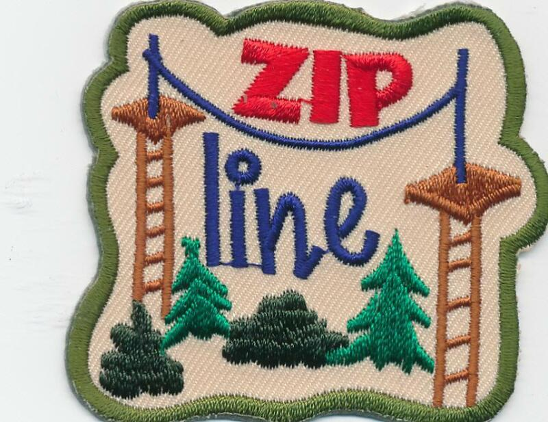 Girl Boy Cub ZIP LINE Fun Patches Crests Badges SCOUT GUIDE lining zipping tour