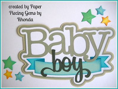BABY BOY paper piecing TITLE Premade Scrapbook Pages Die Cut by Rhonda