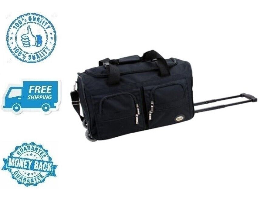"""New Black Luggage 22"""" Rolling Duffel Bag Travel Polyester Ca"""