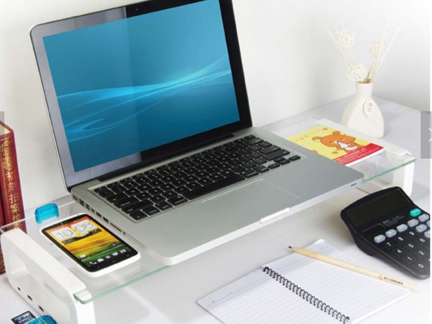 United Mounts™ Curved Glass USB Monitor Stand for PC Monit