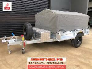 7x5 Single Axle Trailer with Disc Brake 1400Kg ATM, 600mm Cage, Cover
