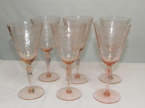 SET OF 6 PINK ETCHED DEPRESSION STEMMED 8 inch WINE GLASSES MINT