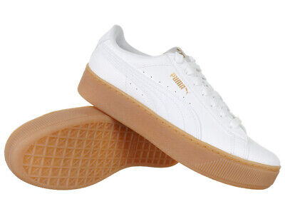 Womens Puma Vikky Platforms VT Sneakers Casual Shoes White Lace Up Trainers
