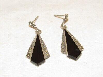 1920s Art Deco Jewelry: Earrings, Necklaces, Brooch, Bracelets VINTAGE STERLING SILVER ART DECO STYLE PIERCED EARRINGS $25.00 AT vintagedancer.com
