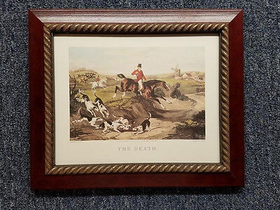 - English Fox Hunt Scene The Death Cherry Stain Wood Gold Rope Frame