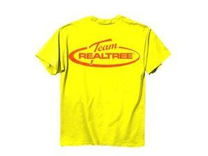 Team realtree mens t shirt hi vis yellow orange logo for Safety t shirt logos