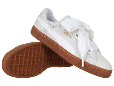 Women's Trainers Puma Basket Heart Perforated Gum White Sneakers Everyday Shoes