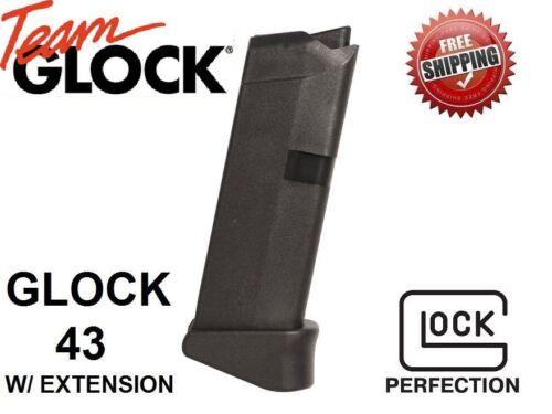 Glock 43 9mm 6 Round Magazine Clip w/  Extension 9
