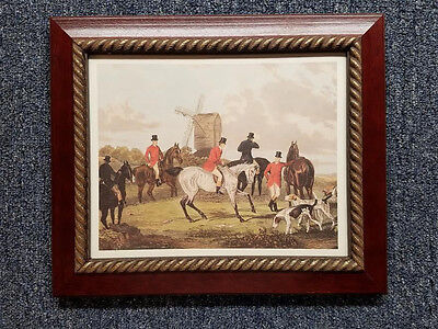- English Fox Hunt Scene The Meet Cherry Stain Wood Gold Rope Frame