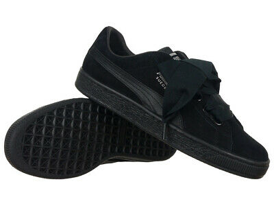 Women's Trainers Puma Basket Heart EP Black Leather Sneakers Everyday Trainers
