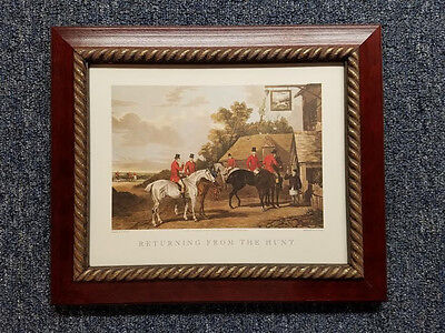 - English Fox Hunt Scene Returning from the Hunt Cherry Stain Wood Gold Rope Frame