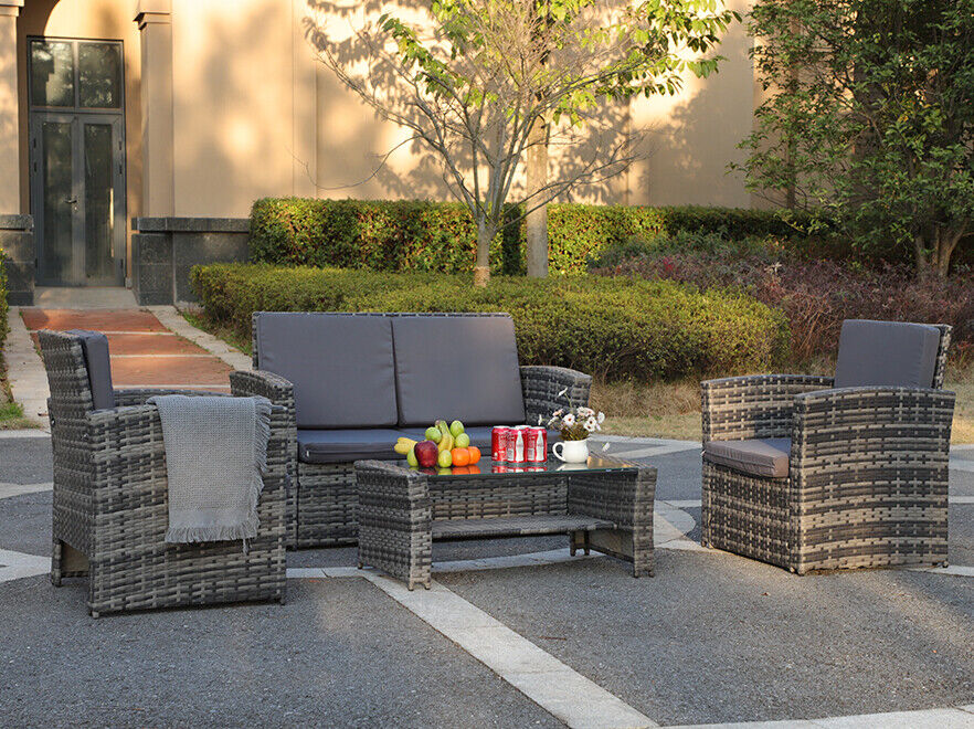 4 Pieces Outdoor Patio Furniture Sets Sectional Sofa PE Ratt