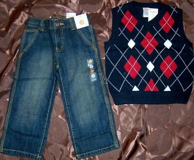 Jeans Sweater Vest Set Gymboree 2pc Carpenter Navy Argyle Boy size 3 New