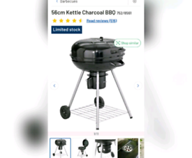 Kettle charcoal bbq used once with ash catcher