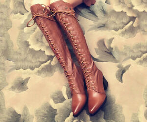 Leather boots/Martin boots/heels/lace-up/cowhide/midland brown