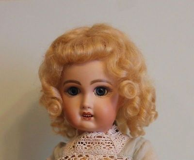 Dee Dark Blonde mohair wig for antique French German bisque doll Sz6