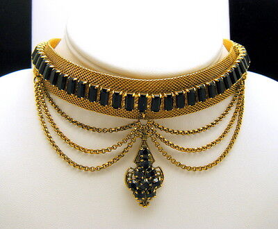 Stunning Vintage Festoon Lavalier Necklace Gold Tone Mesh Black Rhinestones on Lookza