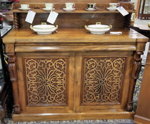 Victorian rosewood sideboard with fretwork gallery