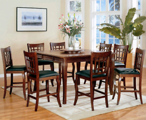 Pub style dining table with 6-8 chairs