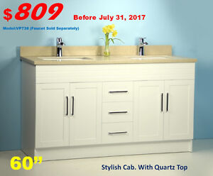 """ONLY $809, YES, its your cost of 60"""" Double Sink Cab./Quartz top"""