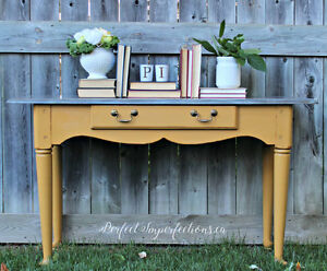 Beautifully restyled mustard sofa table