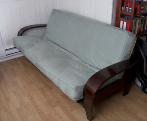 Futon and contemporary style dark wood frame