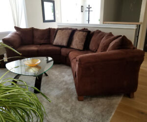 Brown Micro Suede Sectional (Couch)