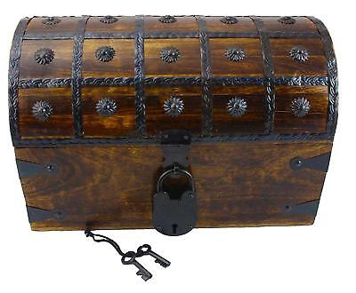 WellPackBox Wooden Pirate Treasure Chest Box With Antique Style Lock And...