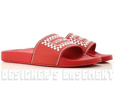 VERSACE men 44EU 11US red 90s VINTAGE LOGO slides FLIP-FLOP sandals NIB Authentc