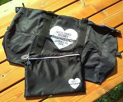 NWT Victorias Secret Black Large Tote Bag Pouch London Fashion Show 2014