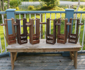 GREAT CHRISTMAS GIFT!Rustic Wine Carrier for  Bottle & Glasses