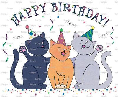 Cat Happy Birthday ~ Edible 2D Fondant Cake Cupcake Topper ~ D880 * ()