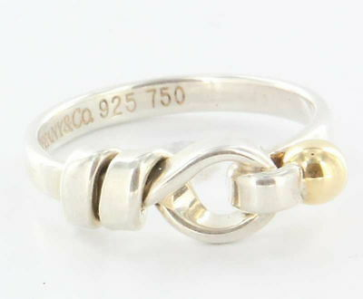 Tiffany & Co. Sterling Silver & 18K Yellow Gold Size 5 Love Knot Band Ring