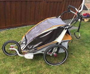 Chariot CX double en excellent état avec roue jogging