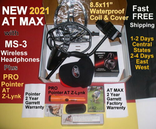 2021 New Garrett AT MAX Metal Detector & PRO Pointer AT Z-Lynk 1-4 Day Delivery
