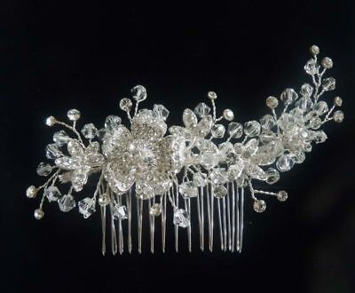 Swarovski Haar (♥Haarschmuck zur Hochzeit Kristalle Swarovski Rose funkelnd am Kamm NEU OVP)