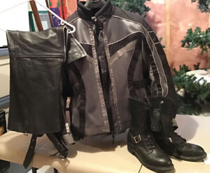 LADIES MOTORCYCLE JACKET, CHAPS, BOOTS