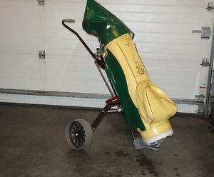 GOLF CLUBS, BAG AND HAND CART