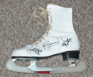 Figure Skate Autographed by Browning, Orser and 4 more