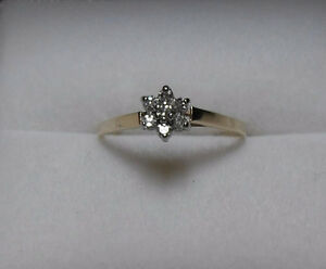 "10k Yellow Gold Brilliant ""Diamond Star Cluster"" Engagement Ring"