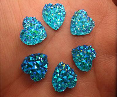 NEW 40pcs PRETTY HEART BLUE CRYSTAL RESIN FLATBACK DECODEN KAWAII CRAFT DIY 12MM
