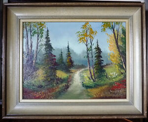 """Oil Painting by Listed Artist Paul Hyttinen """"A Forest Path"""" 1950 Stratford Kitchener Area image 1"""