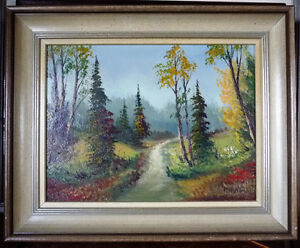 "Oil Painting by Listed Artist Paul Hyttinen ""A Forest Path"" 1950"