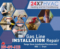 GAS LINE INSTALL BBQ, GAS STOVE, GAS RANGE AND DRYER