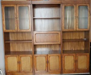 Vintage Solid Wood Shelves w/ Glass Diplay Case - 3 Piece